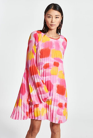 Mini robe rose aquarelle à plis ESSENTIEL