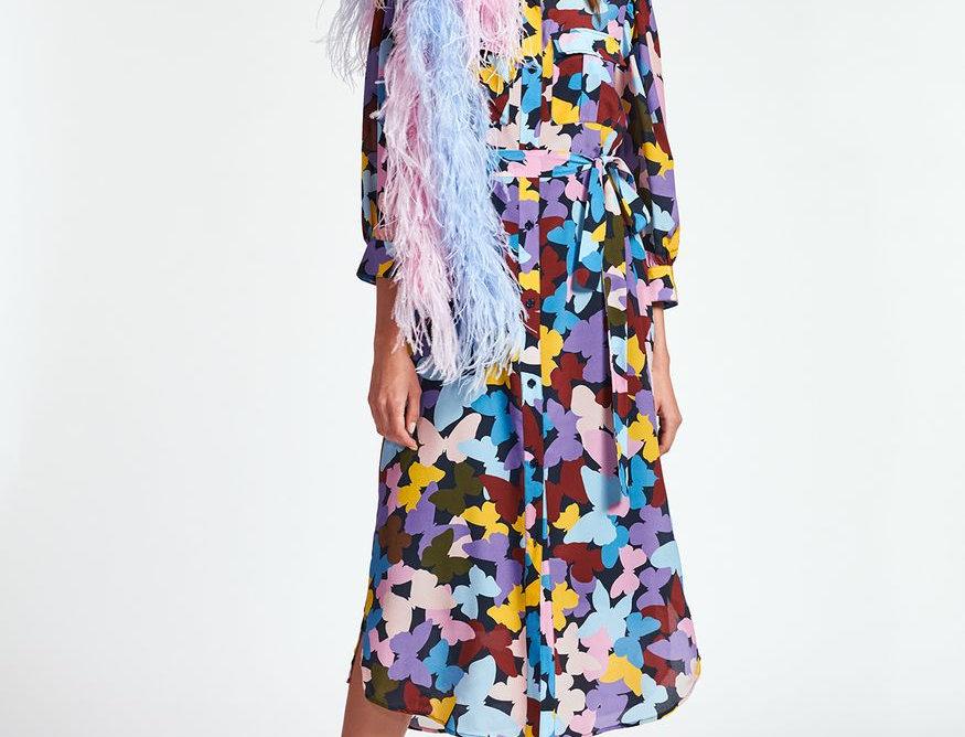 Robe midi en soie à papillons bordeaux, violet et bleu  ESSENTIEL