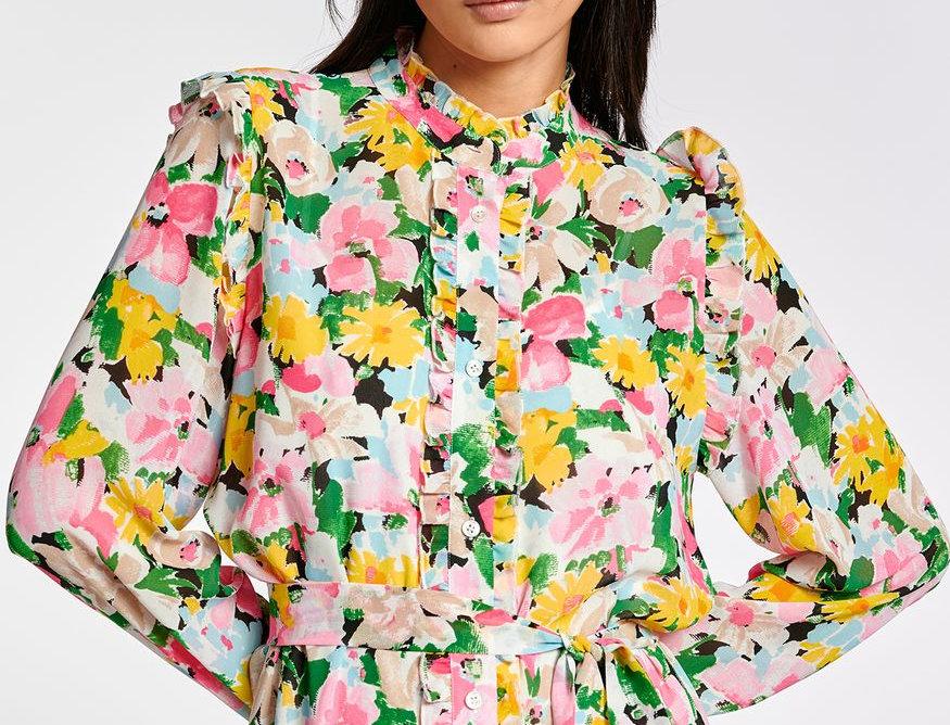Robe chemise à fleurs multicolores avec ruches ESSENTIEL