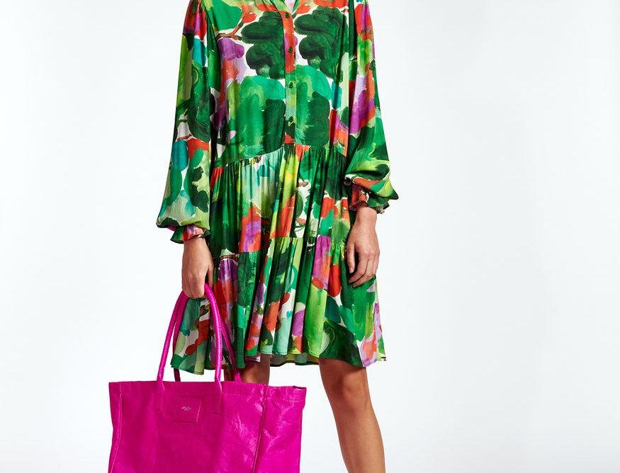Mini robe trapèze à imprimé aquarelle vert, rouge et pourpre ESSENTIEL