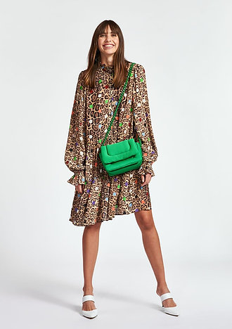 Mini robe trapèze aux imprimés léopard et pois ESSENTIEL