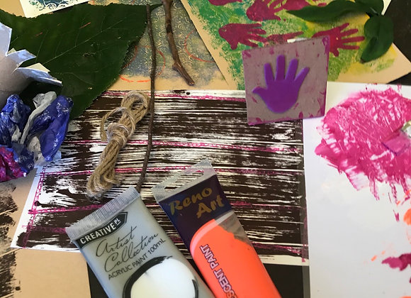 Mixed Media Art Class - Print and Stamp with all The Things