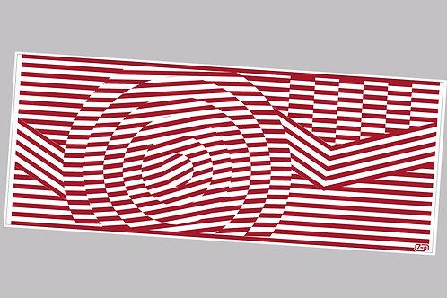 60's geometric pattern red