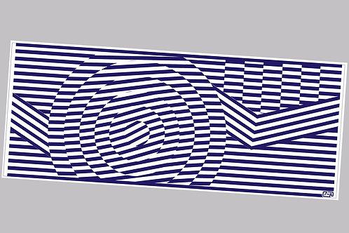 60's geometric pattern blue