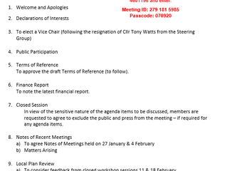 Next Steering Group meeting: Weds 24th Feb 21 at 6pm