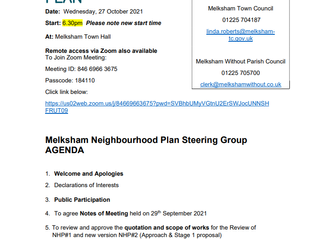 AGENDA FOR OCTOBER STEERING GROUP MEETING