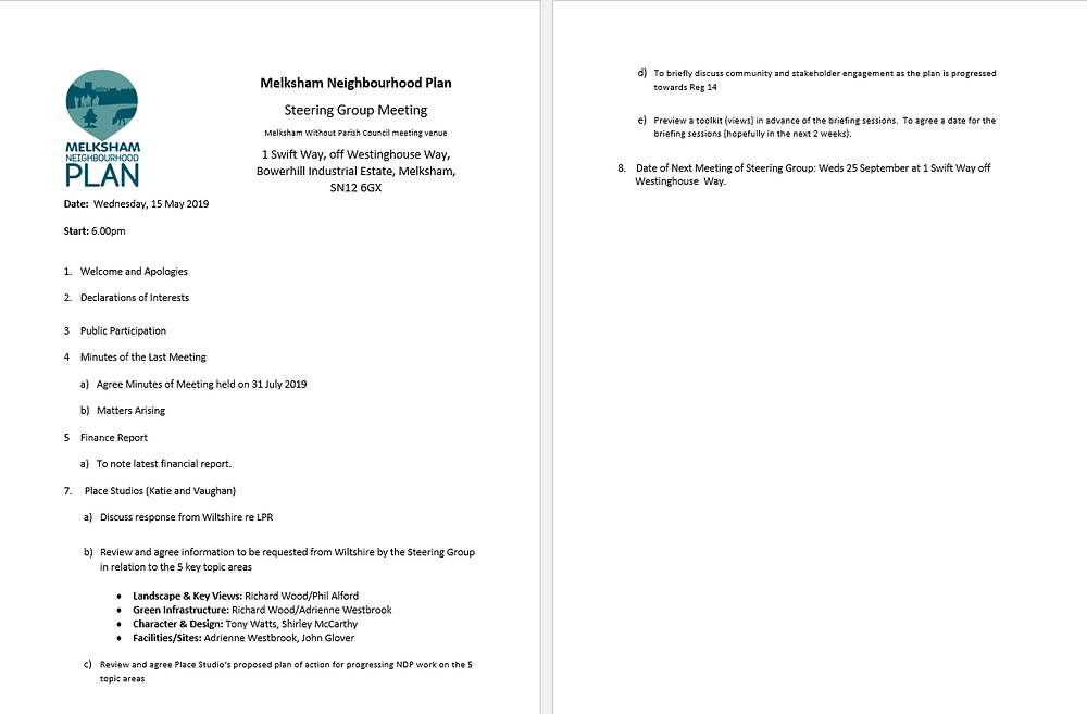 AGENDA for next steering group meeting Weds 4th Sept