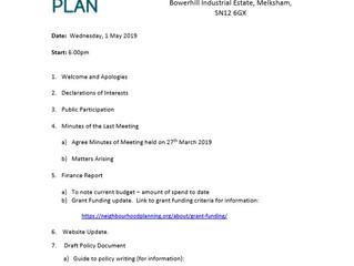 Next Neighbourhood Plan Steering Group meeting (Weds 1st May 2019)