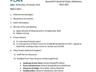 AGENDA for next Steering Group mtg: Weds 30th October