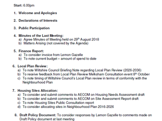AGENDA for Weds 17th Oct 2018 Steering Group meeting 6pm at Melksham Fire Station