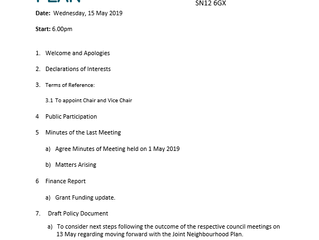 Next Steering Group meeting (Weds 15th May 2019)