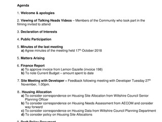 AGENDA for next steering group meeting Tuesday 27th November 2018 6pm at Forest Community Centre