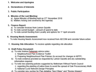 Agenda for next meeting, Weds 30th Jan 2019