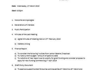 Next Neighbourhood Plan Steering Group meeting (27th March 2019)
