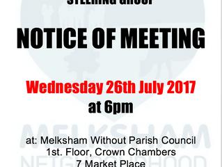 Steering group meeting 26th July 2017
