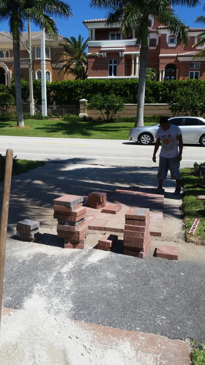 Putting brick paver