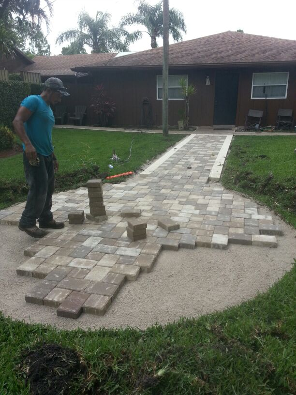 Working walkway pavers