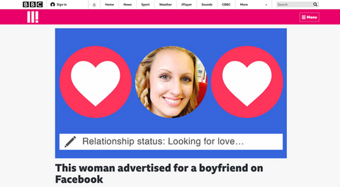 What happened when a woman advertised for a boyfriend on Facebook