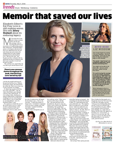 Memoir that saved our lives - Interview with Elizabeth Gilbert