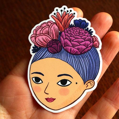 """Sticker """"Demoiselle fleurie"""""""