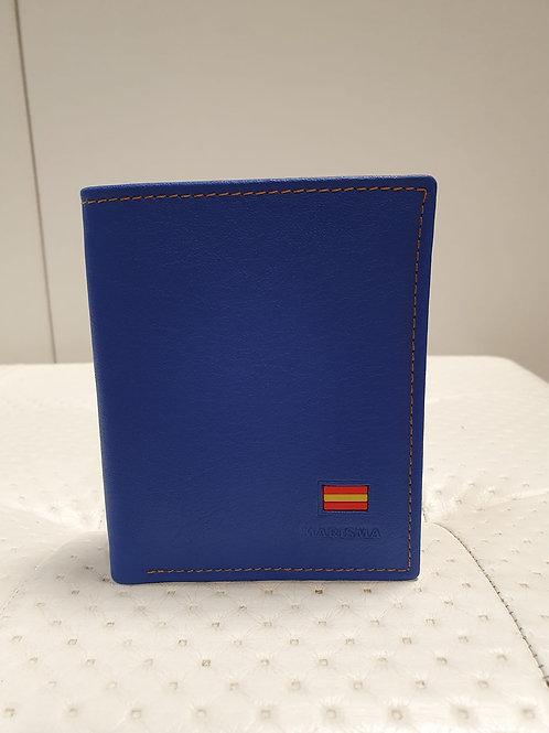 Billetera piel azul  bandera