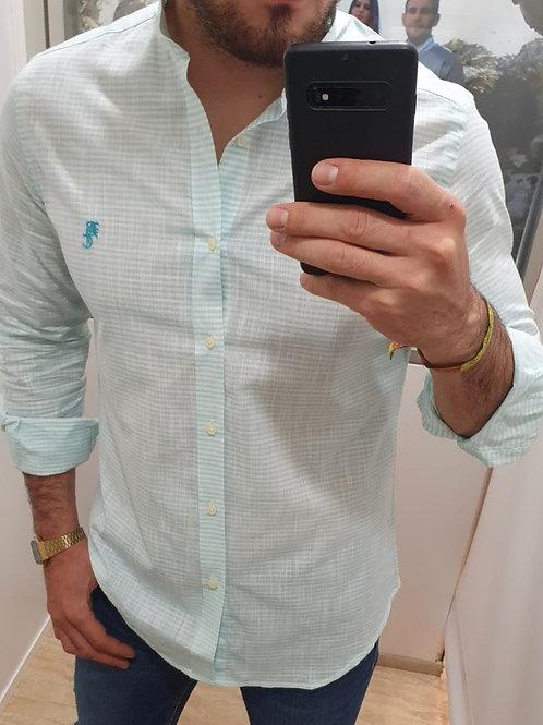 Camisa Rayas Verde Agua BC