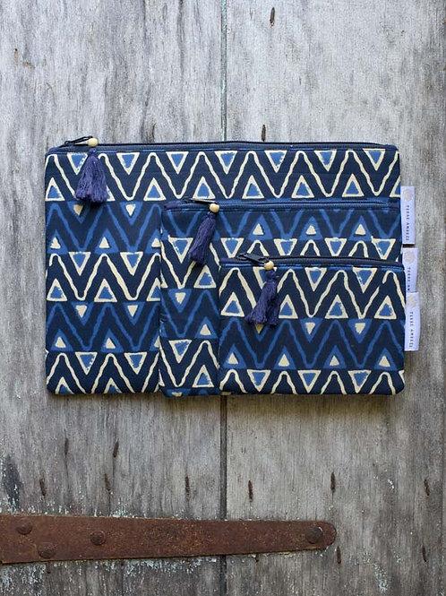 Pochettes ethniques bleues Chandika / lot de 3