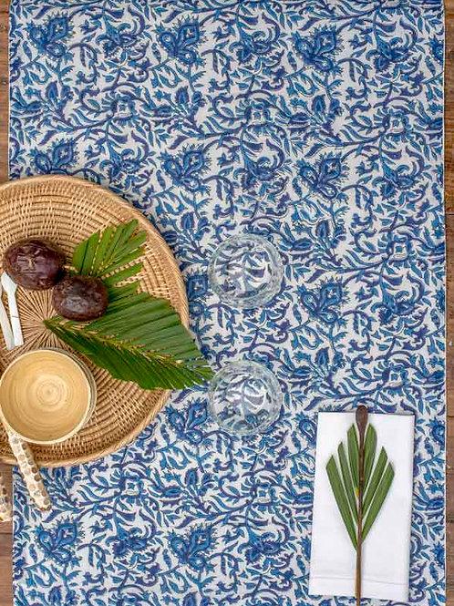 Chemin de table à fleurs bleu et blanc Jabalpur