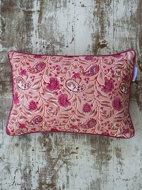 Housse de coussin à fleurs rose Dipavali
