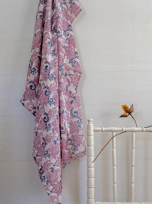 Paréo à fleurs rose et blanc Sama