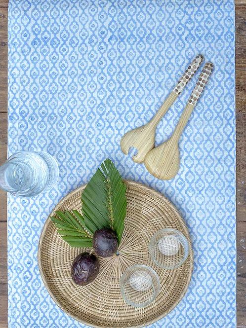 Chemin de table ethnique bleu et blanc Varija