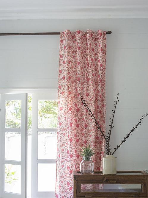 Rideau à fleurs rose et blanc Adhira