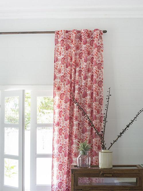 Rideau à fleurs rose et blanc Esha