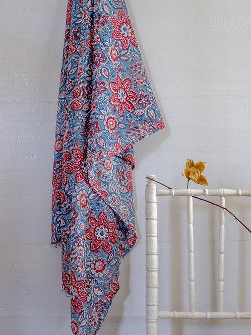 Paréo à fleurs rouge et bleu Niyati