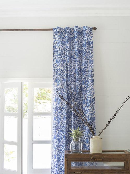 Rideau à fleurs bleu et blanc Bahni