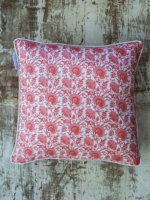 Housse de coussin à fleurs rose et blanche Arani