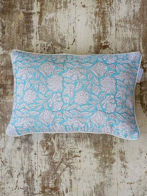 Housse de coussin à fleurs bleue et blanche Dhanbad