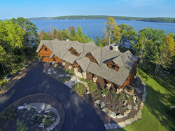 Aerial view of Wisconsin lake home