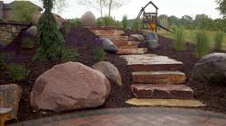 Natural backyard steps
