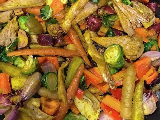 Vegetales al horno con curry amarillo y melao de chile y limón Kotahi