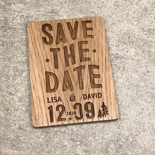 Magnet Save the Date en bois personnalisé