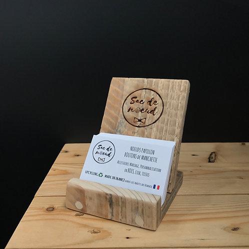 Présentoir carte de visite en bois recyclé personnalisable