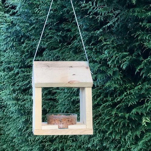 Mangeoire oiseau en bois avec coupelle