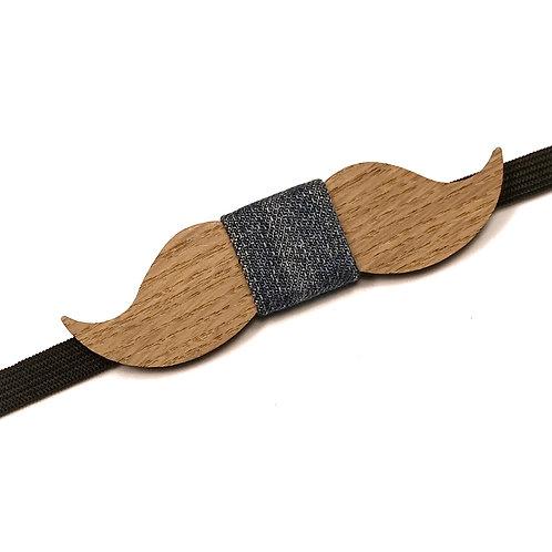 Noeud Papillon Bois Moustache - chêne massif Recyclé et tissu Denim