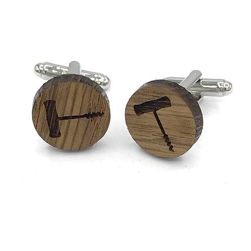 boutons de manchette en bois tir bouchon