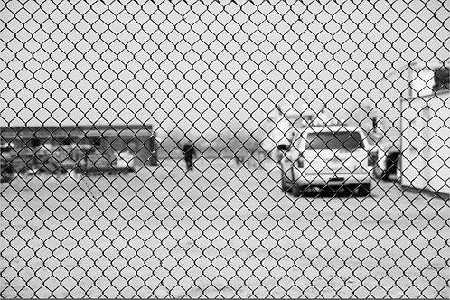 New York - lonely man on the quai - 40x60 avec caisse américaine noire