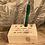 porte crayon en bois recyclé et gravé