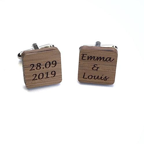 Boutons de Manchette bois carrés Mariage prenoms + date