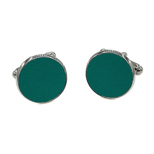 boutons de manchette cuir vert sapin