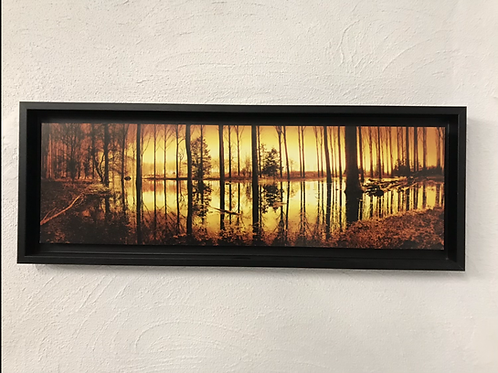 Reflexion boisée - photo encadrée en caisse américaine noire